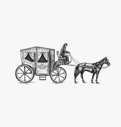 horse carriage coachman on an old victorian vector image