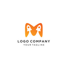 initial m letter logo with rocket icon combologo vector image