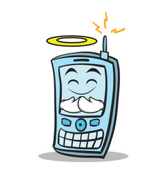 Innocent face phone character cartoon style vector
