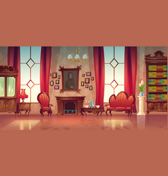Interior victorian living room vector