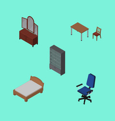 Isometric furniture set of office chair bedstead vector