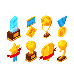isometric set of sport trophy vector image