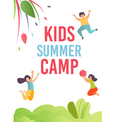 kids summer camp ad mobile cover or print card vector image