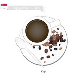 Kopi or Hot Coffee A Popular Drink in Singapore vector