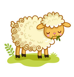 lamb stands in the clearing and chews the grass vector image
