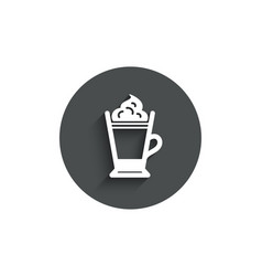 latte coffee icon whipped cream sign vector image