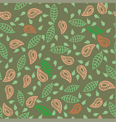 Leafs plats flowers seamless green pattern vector