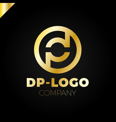 Letter d and p logo pd dp initial vector