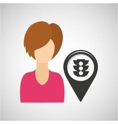 light traffic pointer map girl design icon vector image