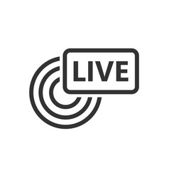 Live broadcast icon in flat style antenna on vector