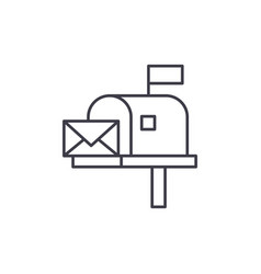 mailbox line icon concept mailbox linear vector image