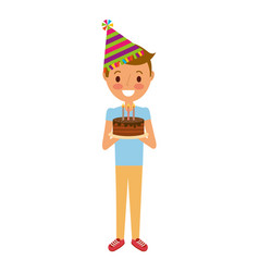 man holding birthday cake with candles vector image