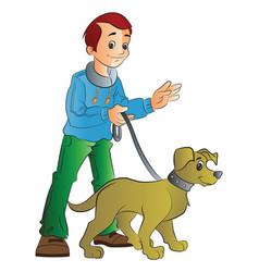 man walking a dog vector image