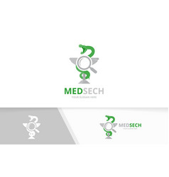 medicine and loupe logo combination vector image