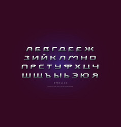 Metal chrome extended cyrillic sans serif font vector