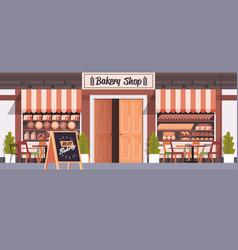 Modern baking shop building facade empty no people vector