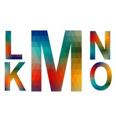 Mosaic alphabet letters K L M N O vector