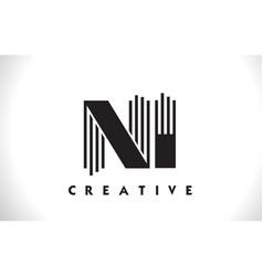 ni logo letter with black lines design line letter vector image