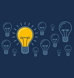 one lit bulb among unlit bulbs new idea business vector image