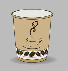 paper cup with a cup of coffee logo and grains at vector image