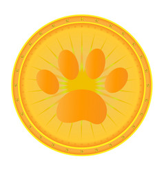 paw print gold medal icon vector image