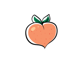 Peach in shape heart on white background vector