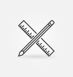 pencil with ruler icon in thin line style vector image