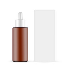 Plastic frosted amber dropper bottle with box vector