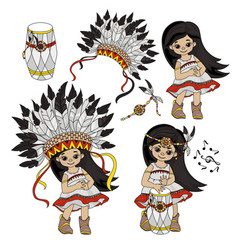 Pocahontas set indians princess world illus vector