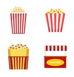 Popcorn cinema box striped icons set flat style vector