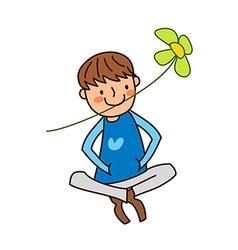 Portrait of boy holding flower in mouth vector