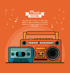 Poster music festival in orange background with vector