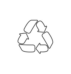 recycle sign isolated line icon black on white vector image