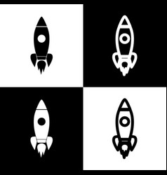 rocket sign black and white vector image