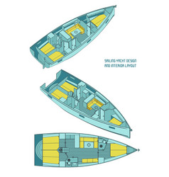 sailing yacht design and interior layout vector image