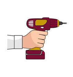 Screw gun icon human hand with impact wrench vector