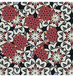 Seamless mandalas background Red and gray mandala vector image