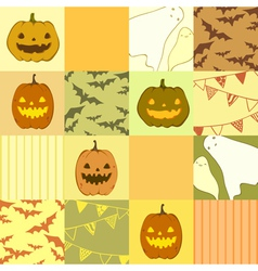 Seamless pattern with ghosts pumpkins bats vector