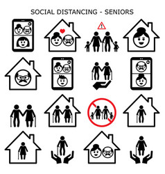 Senior man and woman social distancing vecor icons vector