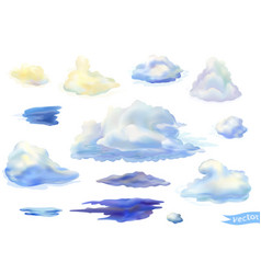 Set isolated clouds in watercolor style vector