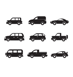 set of black car icons - stock collection vector image