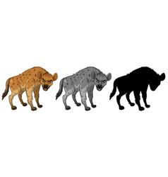 set of hyena character vector image