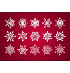 Set of Various Fine Lace Snowflakes for Christmas vector image