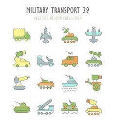 set retro icons military transport vector image