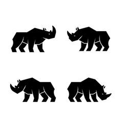 set rhinoceros logo vector image