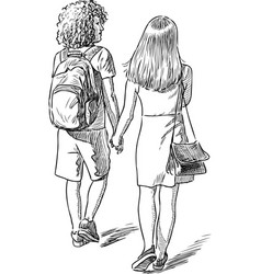 Sketch teens on a stroll vector