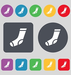 socks icon sign A set of 12 colored buttons Flat vector image