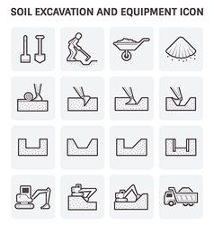 Soil excavation icon vector