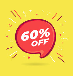 special offer sale red bubble 60 percent discount vector image