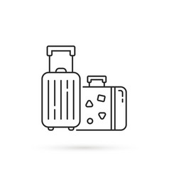 Thin line luggage for travel black icon vector
